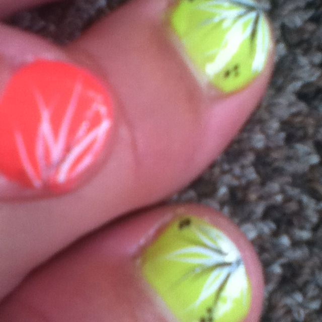 Cute nail design neon pink and yellow design is silver black and ...