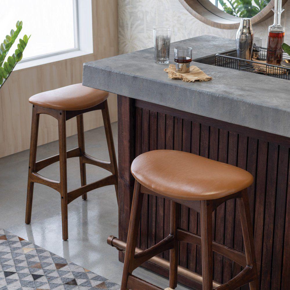 Belham Living Carter Mid Century Modern Backless Bar Stool Backless Bar Stools Bar Stools Mid Century Modern Bar