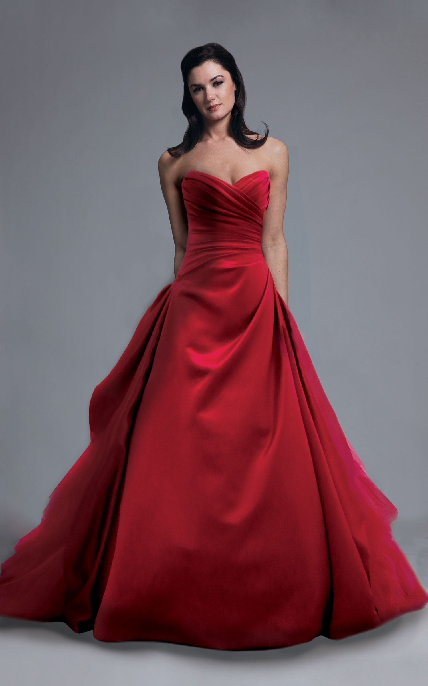 a-lined, ballgown, bridal gowns, color, dramatic, red, sweetheart ...