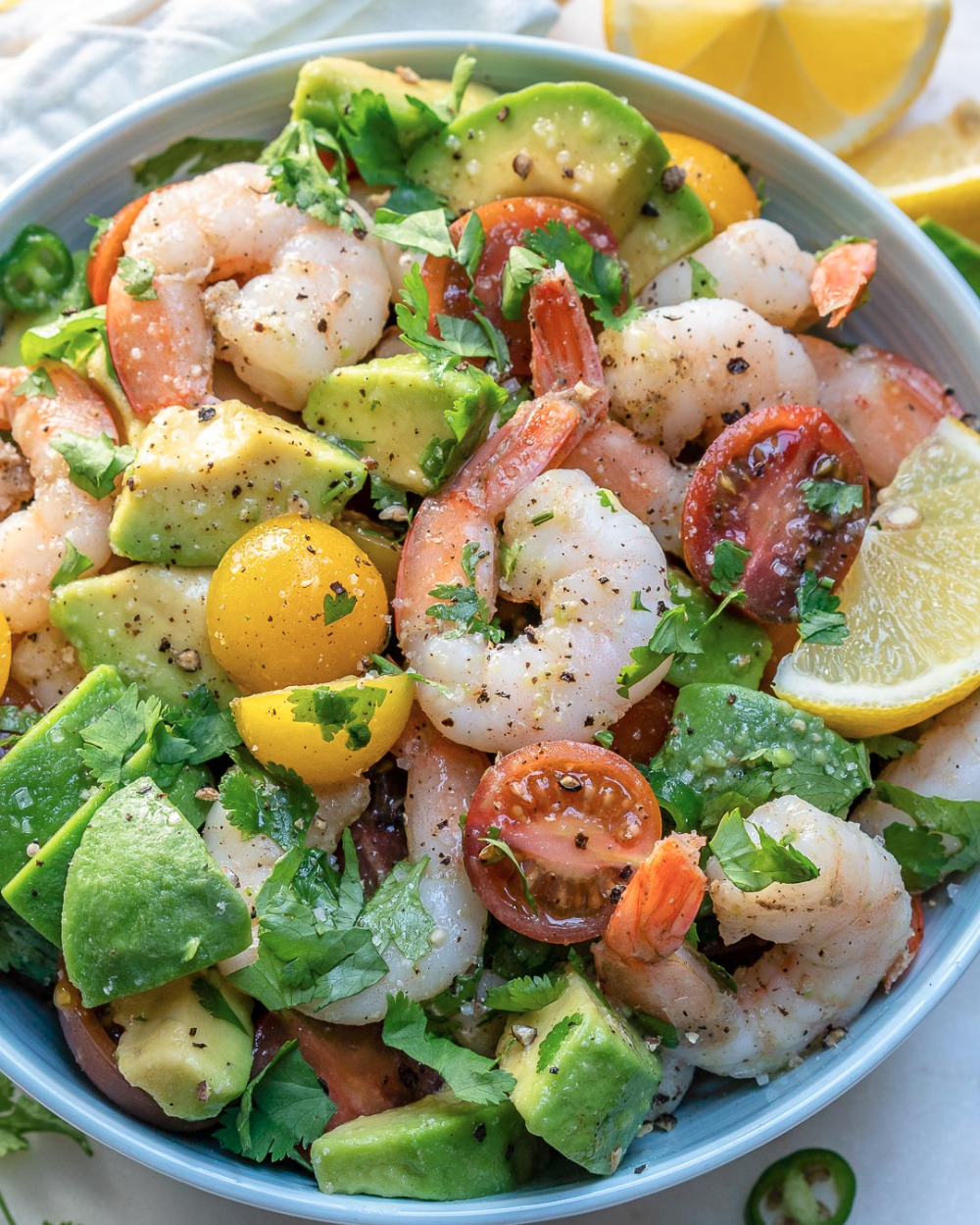 Eat this Lemony Shrimp + Avocado + Tomato Salad for a Clean…