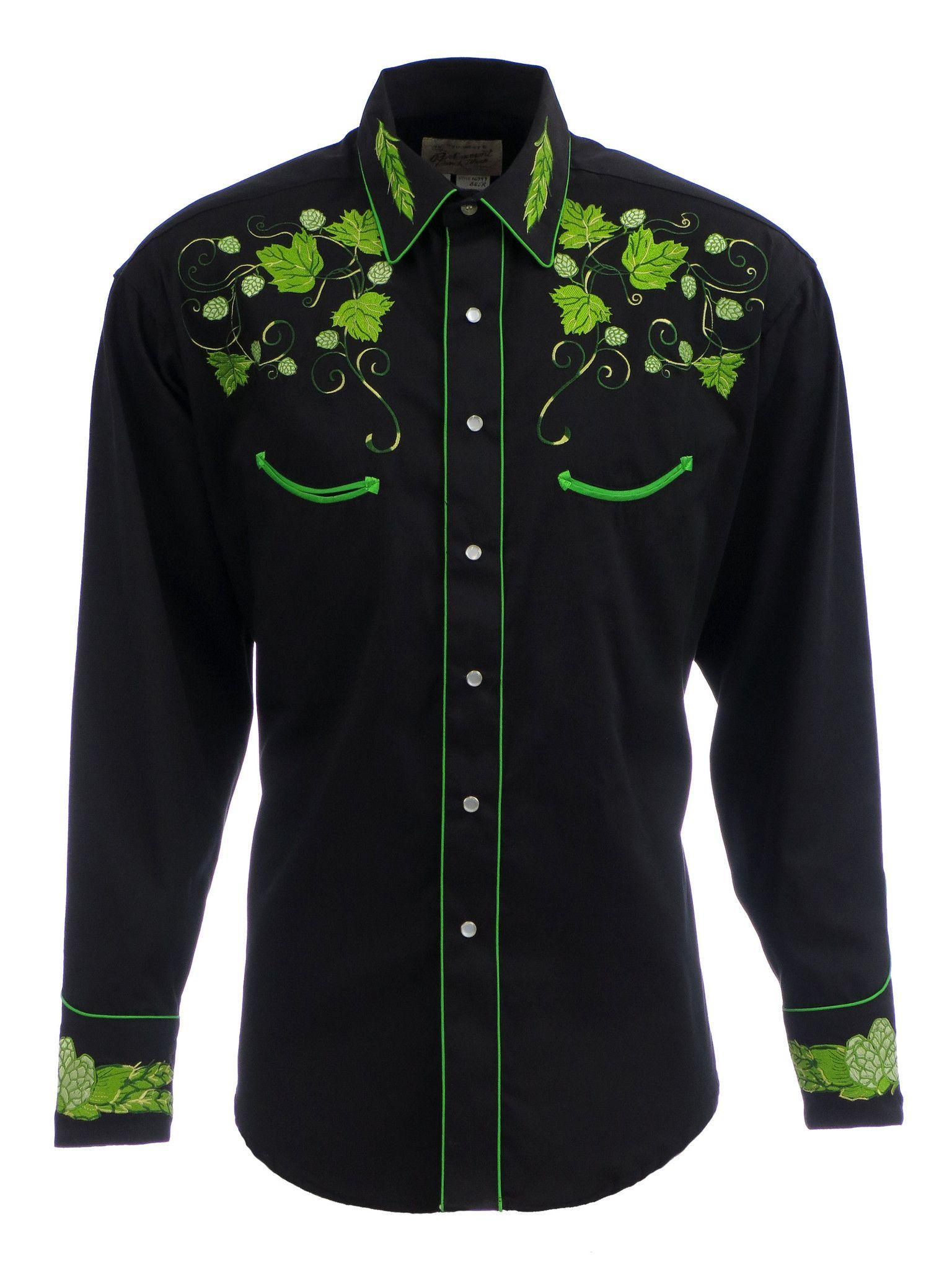 23d9b516 Rockmount Mens Black 100% Cotton L/S Western Shirt Vintage Hops Embroidered