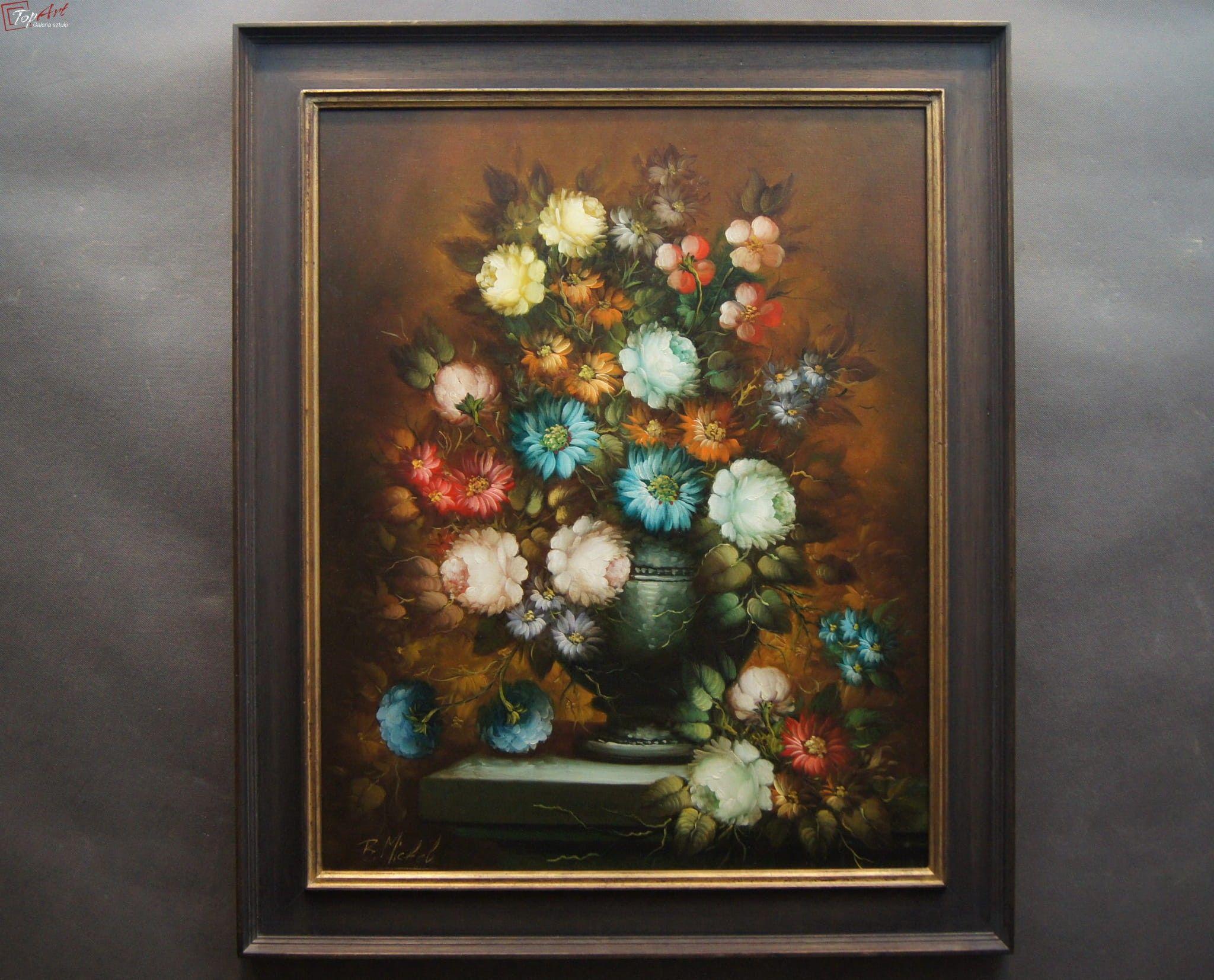 Piekny Dekoracyjny Obraz Barokowe Kwiaty R Michel Art Painting
