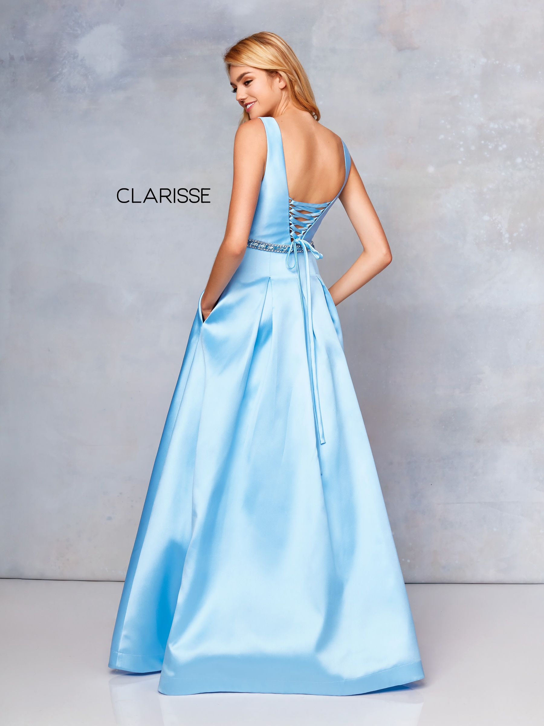 d1194a78e7 3741 -Pale Blue long satin prom dress with beaded pocket details and a corset  back
