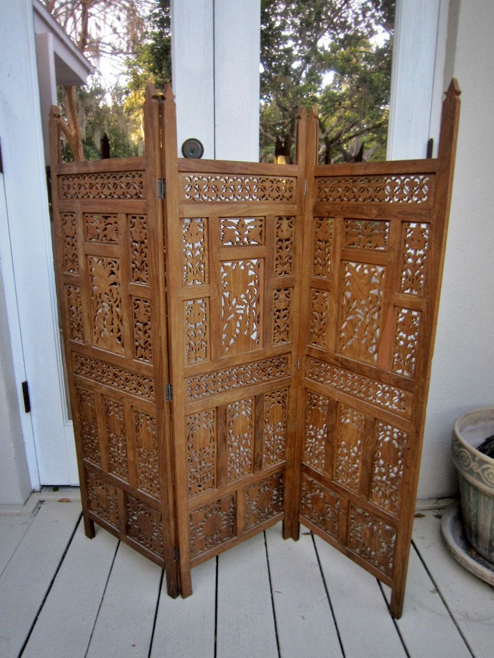 Vintage Wood Folding Screen Indian 70 S By Floridafound On Etsy 125 00