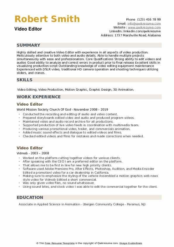 Video Editor Resume Samples Qwikresume Image Result For Resume Video Resume Job Resume Examples Resume