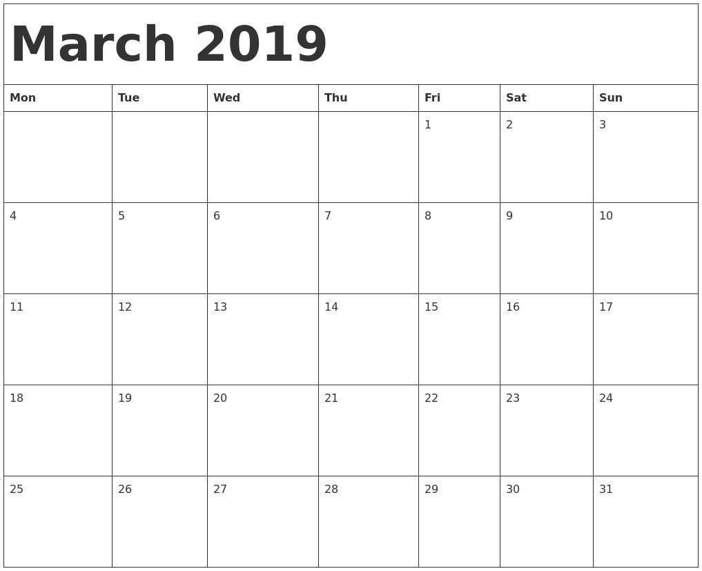Blank Calendar For March 2020 Printable With Holidays Template