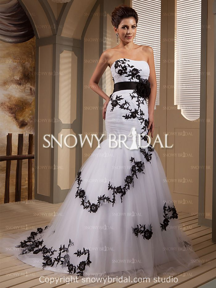 6651f91213 White Black Mermaid Long Flower Tulle Sweetheart Corset Wedding  Dress-US 211.99- StyleW0806-Snowy Bridal