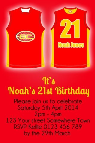 Gold Coast Suns AFL Invite AFL Themed Party Invitations By - 21st birthday invitations gold coast