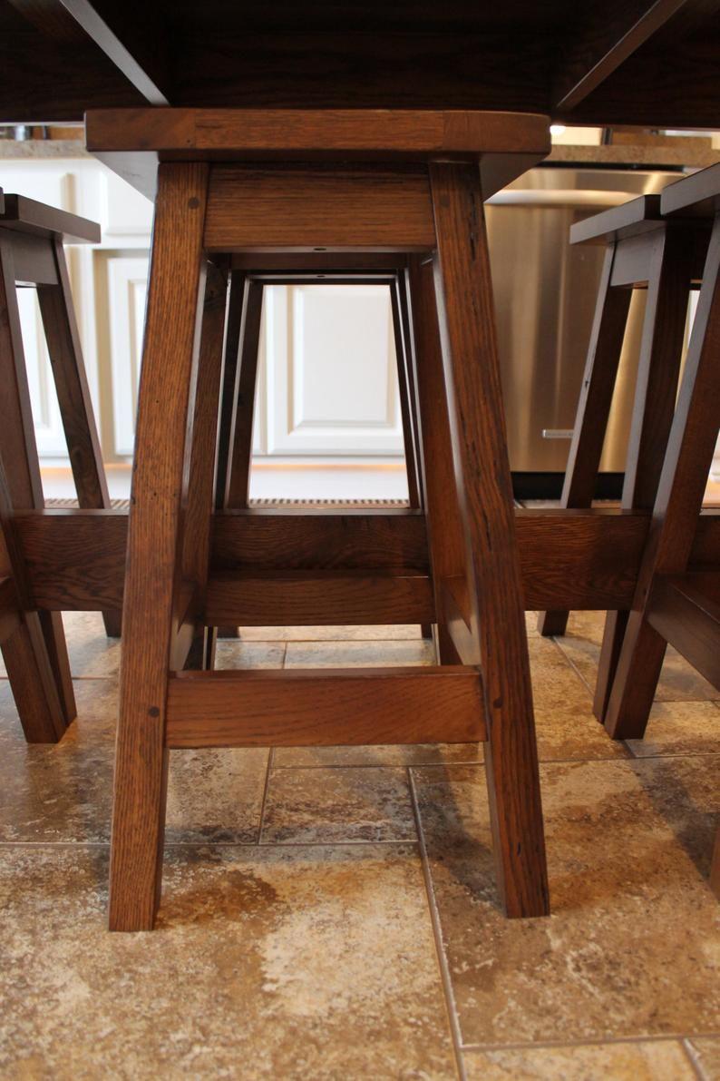 Rustic Farmhouse Bar/Island Table with 6 Barstools Bar