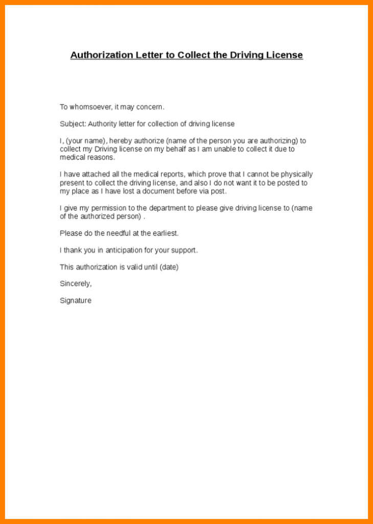 authorisation letter sample to collect certificate