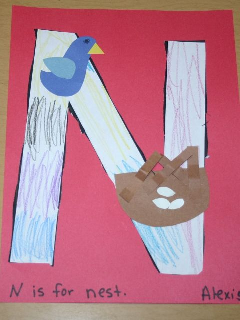 letter n nest preschool craft ideas pinterest nest learning letters and letter crafts. Black Bedroom Furniture Sets. Home Design Ideas