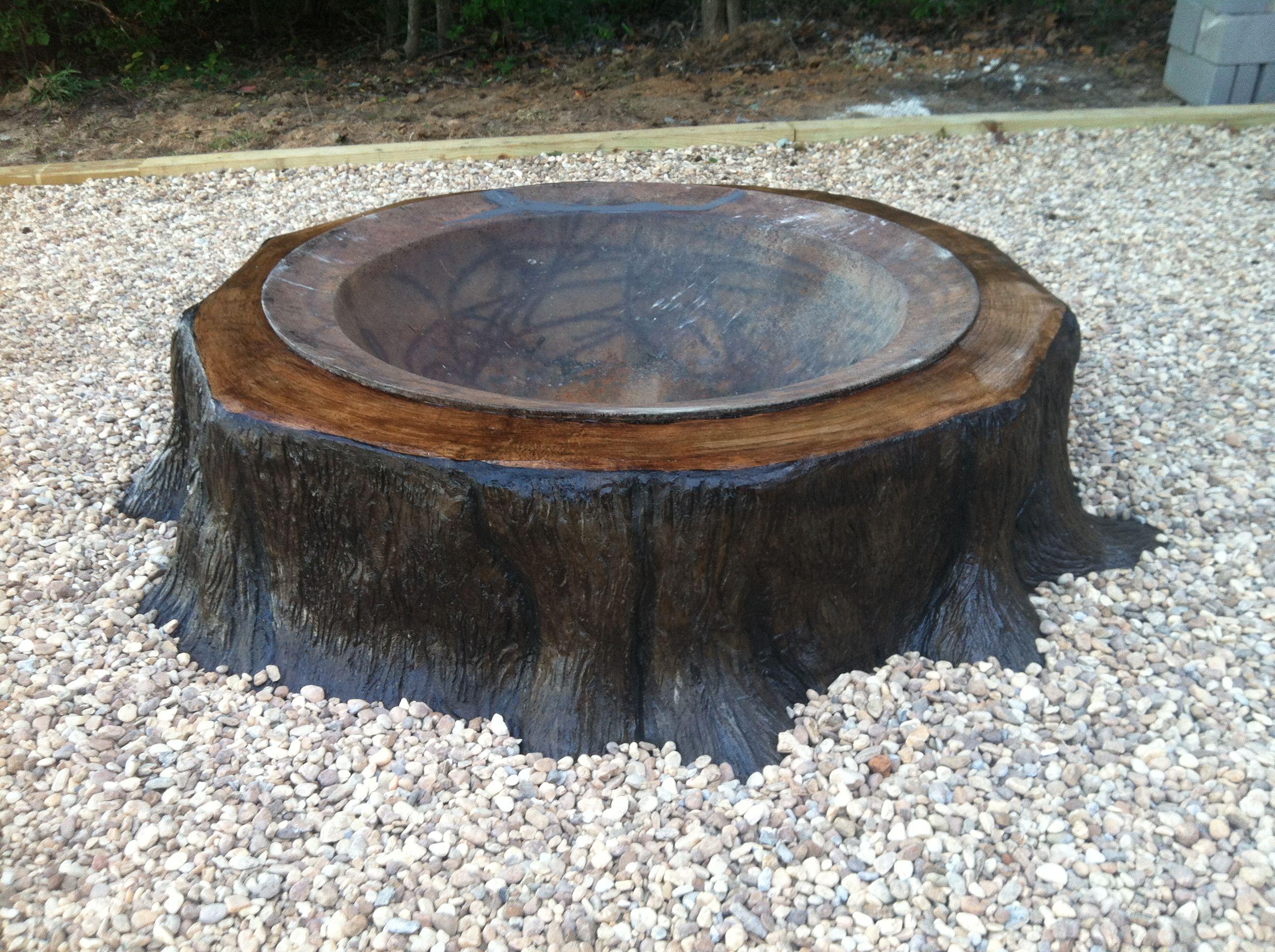 Concrete tree stump firepit designed by bryan thornton for Concrete fire pit plans