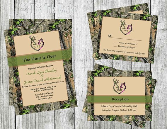 The Hunt is Over Wedding Invitation wRSVP by TheInkBasket make