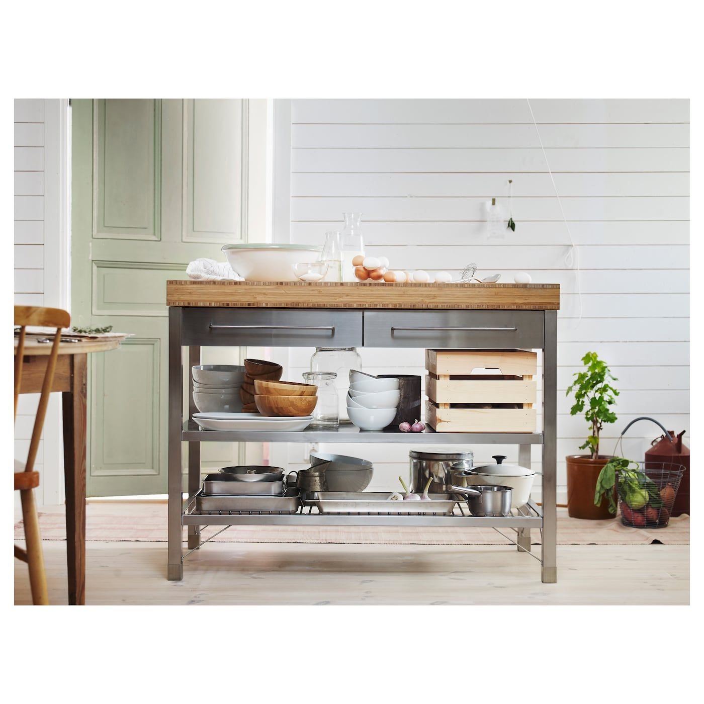 RIMFORSA stainless steel, bamboo, Work bench - IKEA  Ikea kitchen