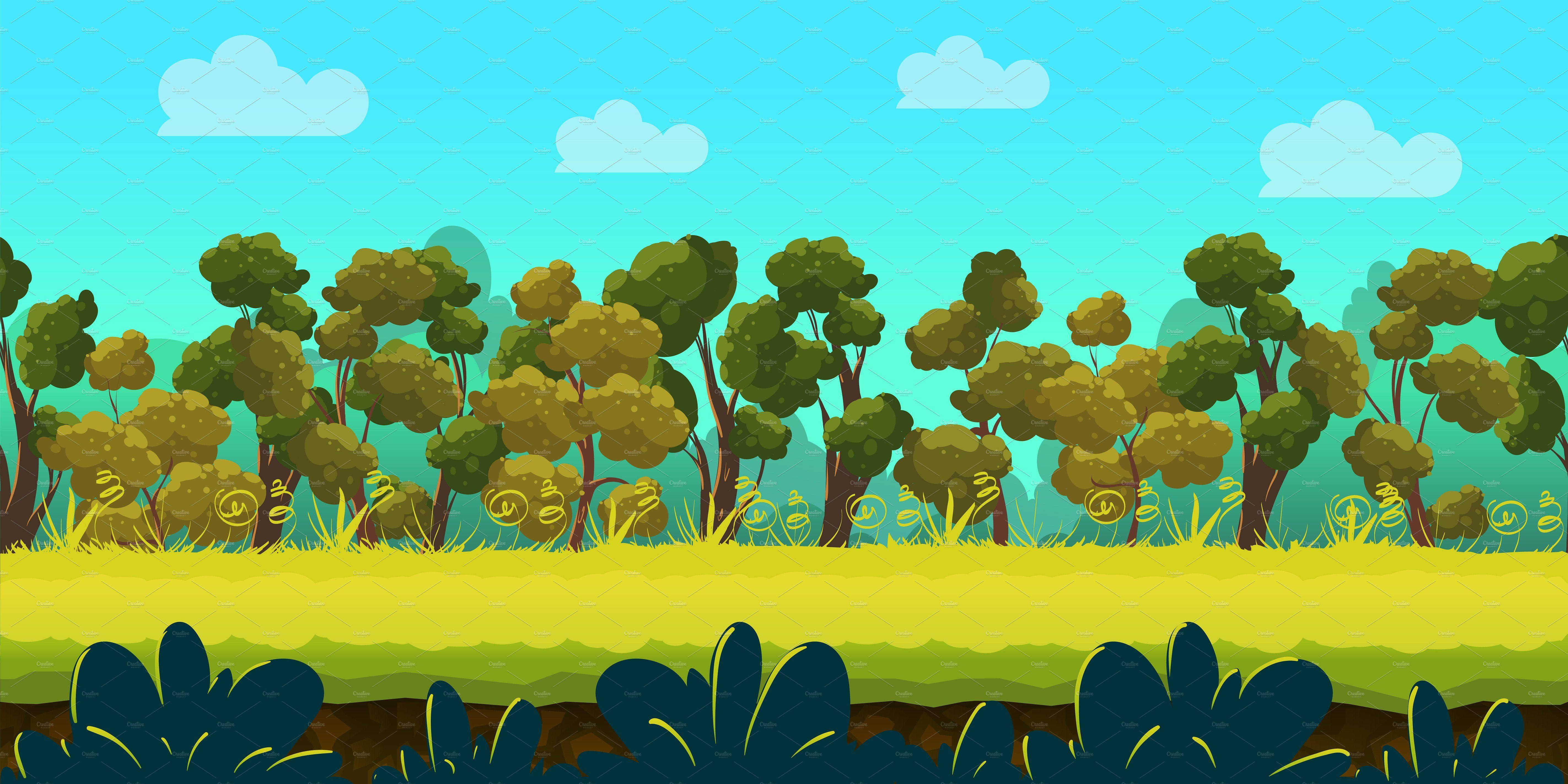 Cartoon Forest Landscape #illustrator#software#vector#edit