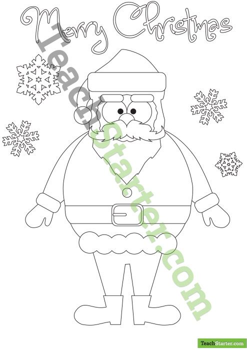 Santa Claus Colouring In Poster | Christmas teaching