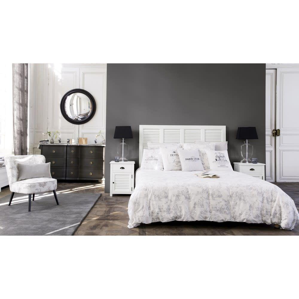 Testata da letto bianca in legno L 140 cm Arredamento