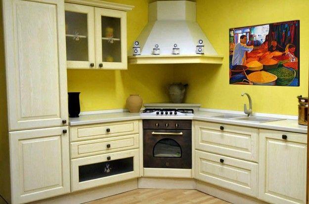 Abbinamento colori pareti cucina - Verde acido e bianco