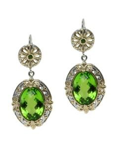 Michael Valitutti Two tone Green Quartz and Chrome Diopside Earrings (Green )