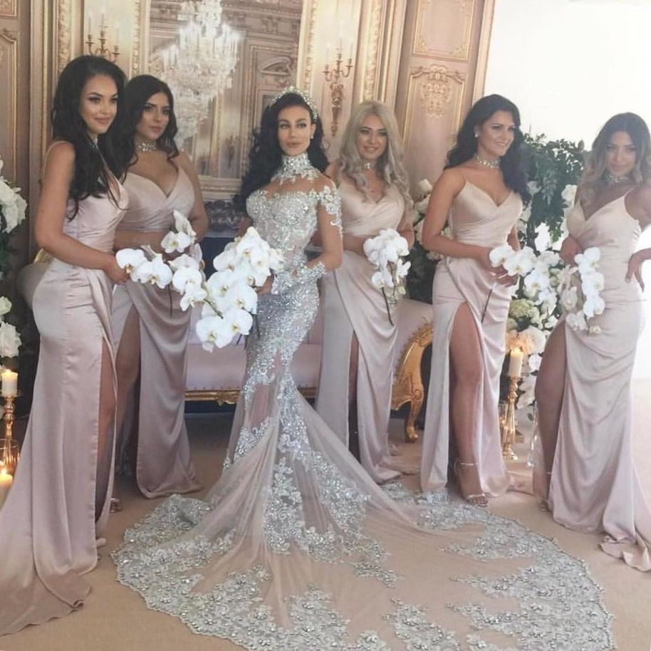 Pin by ams jackson on wedding hopes pinterest wedding silver sexy spaghetti side slit simple design long bridesmaid dresses the dress is fully lined 4 bones in the bodice chest pad in the bust lace up back or ombrellifo Image collections