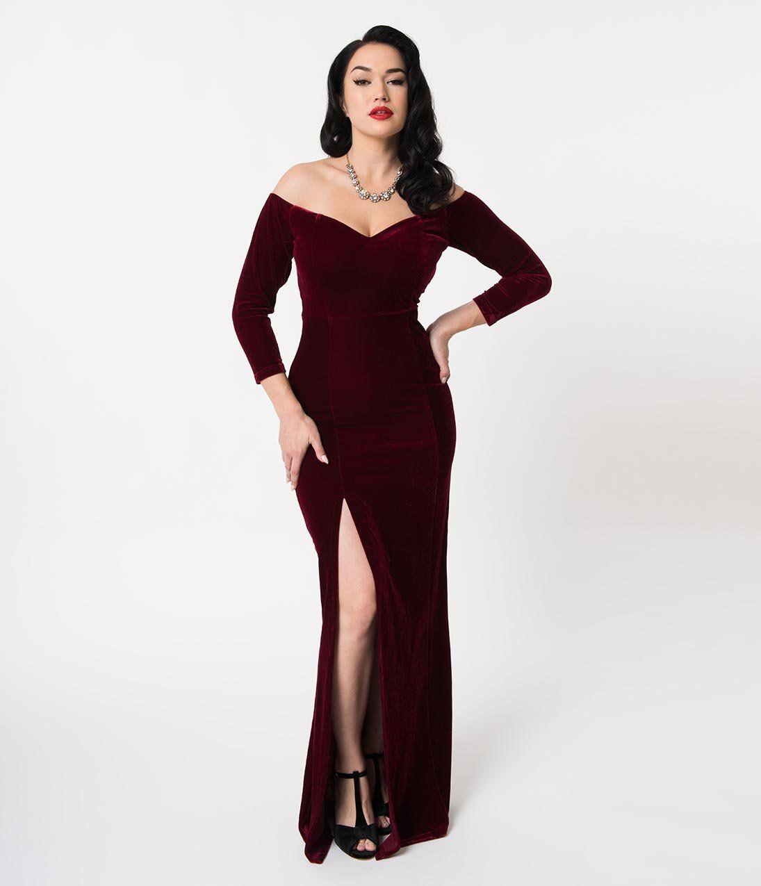 1fa6abd1987b Collectif Wine Red Velvet Off Shoulder Sleeved Anjelica Maxi Dress – Unique  Vintage