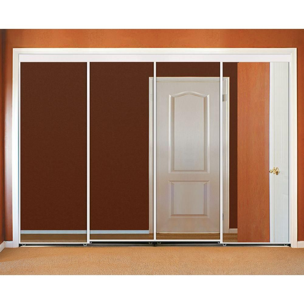 144 In X 80 In Polished Edge Mirror Gasket Framed Aluminum Interior Closet Sliding Door With White Trim S294 14480w The Home Depot Sliding Doors Doors White Trim