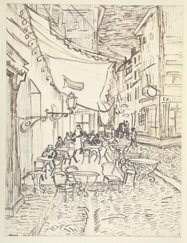 Café Terrace on the Place du Forum 1888 Van Gogh Chalk, ink, & graphite on laid paper DMA