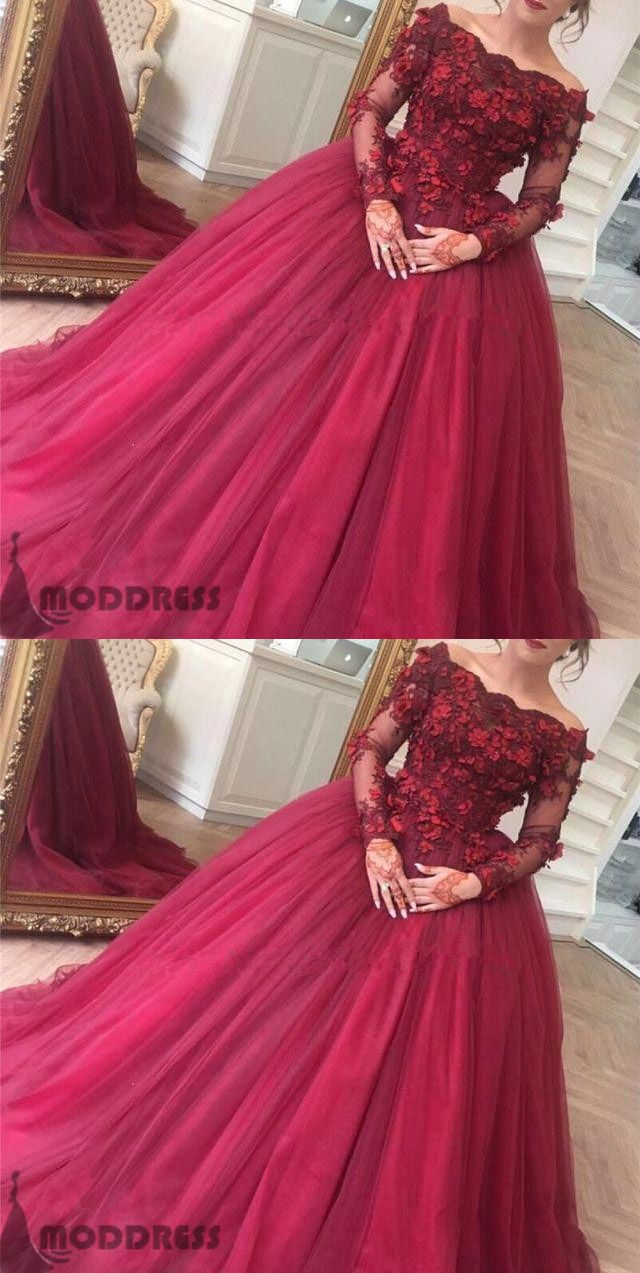 Flowers ball gowns off the shoulder wedding dresses long sleeve