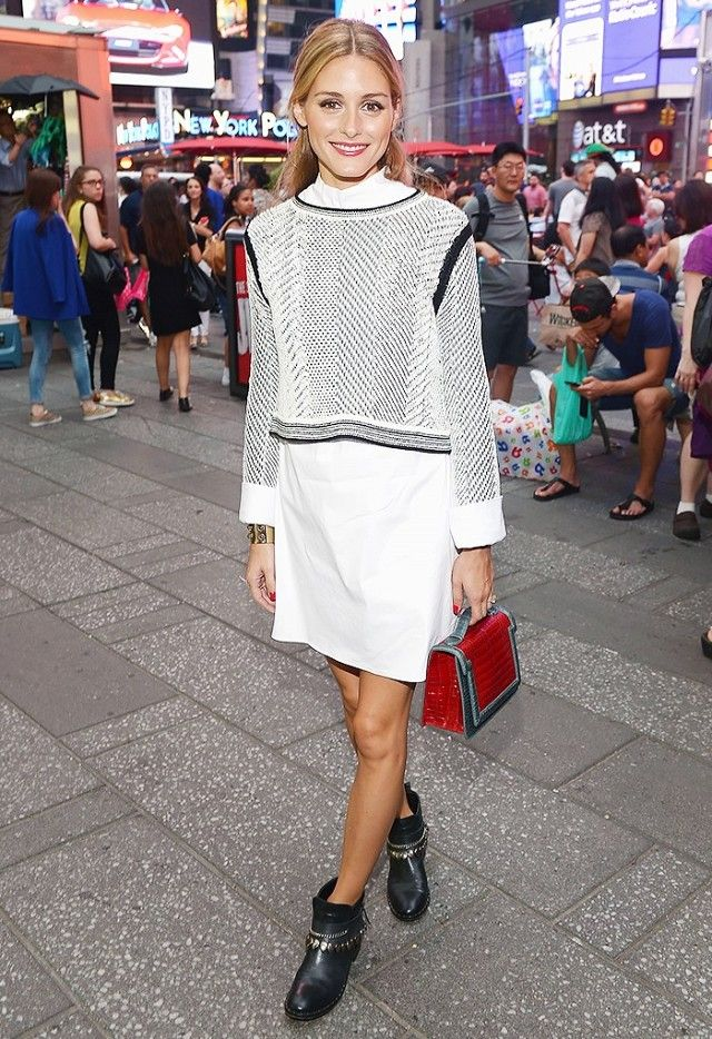 Olivia Palermo Wears As Shirtdress Polished Sweater Ankle Boots And A Top Handle Bag