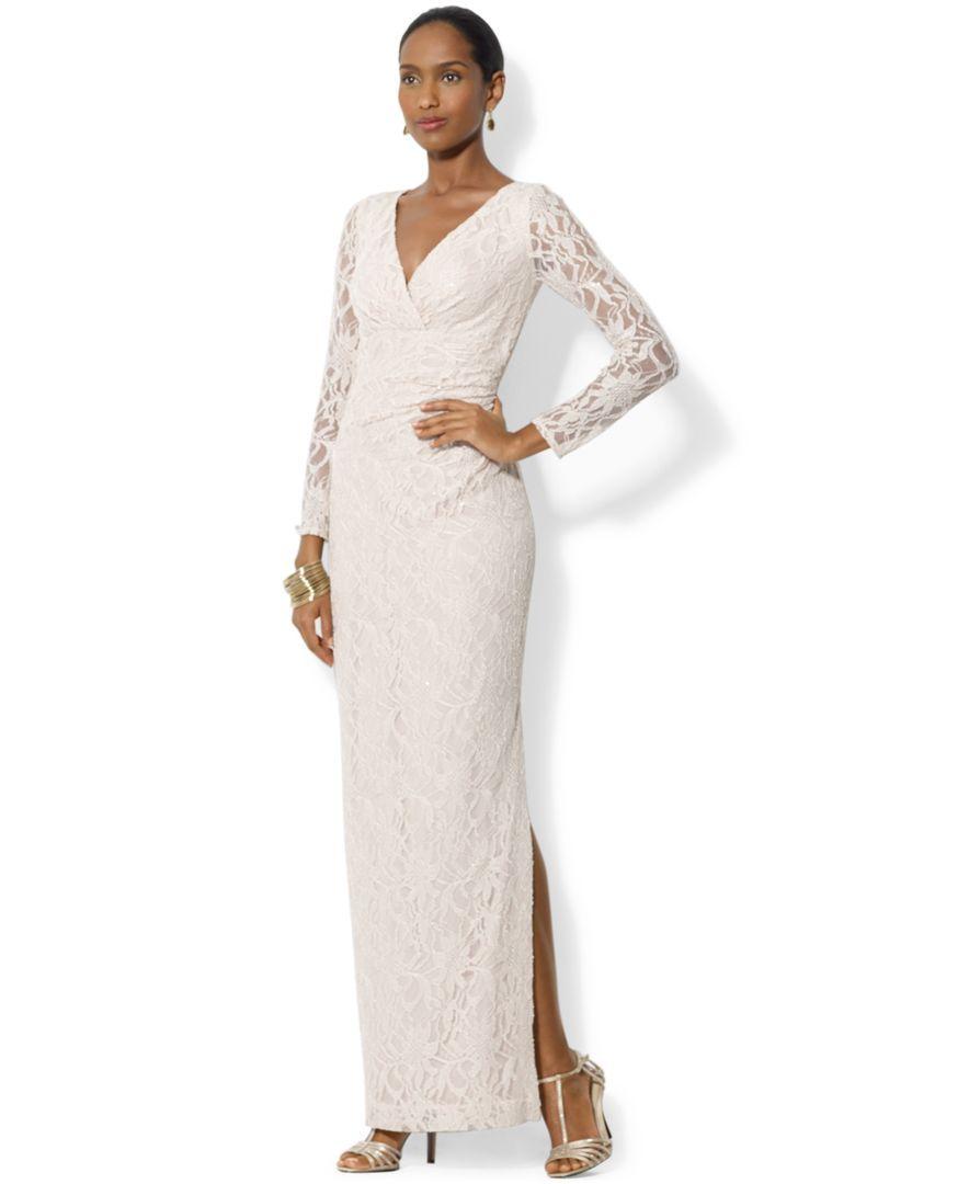 Lauren Ralph Lauren Beaded Long-Sleeve Dress