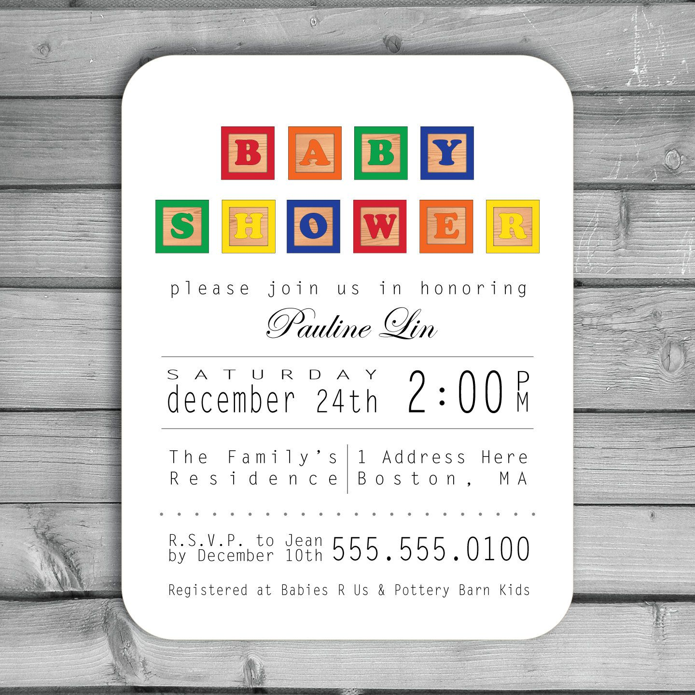 Customized Invitations Baby Shower Printed Alphabet Abc Blocks Boy