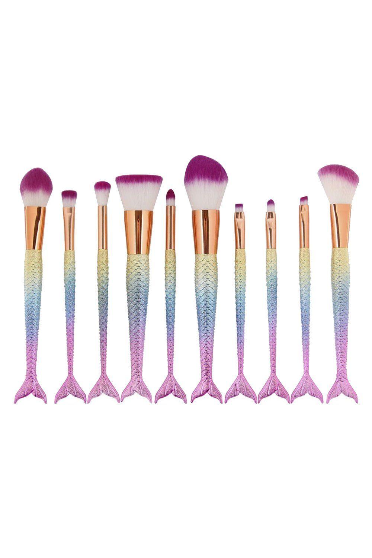 Atomic 10-teiliges Meerjungfrau Make-up Pinsel Set – Pastell Regenbogen