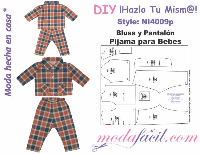 Descarga gratis los Moldes de Pijama para Bebes de Blusa y Pantalón  disponibles en 12 tallas individuales Listas para Cortar 0d40899f1927