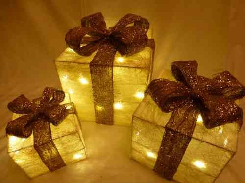 three light up presents christmas decoration