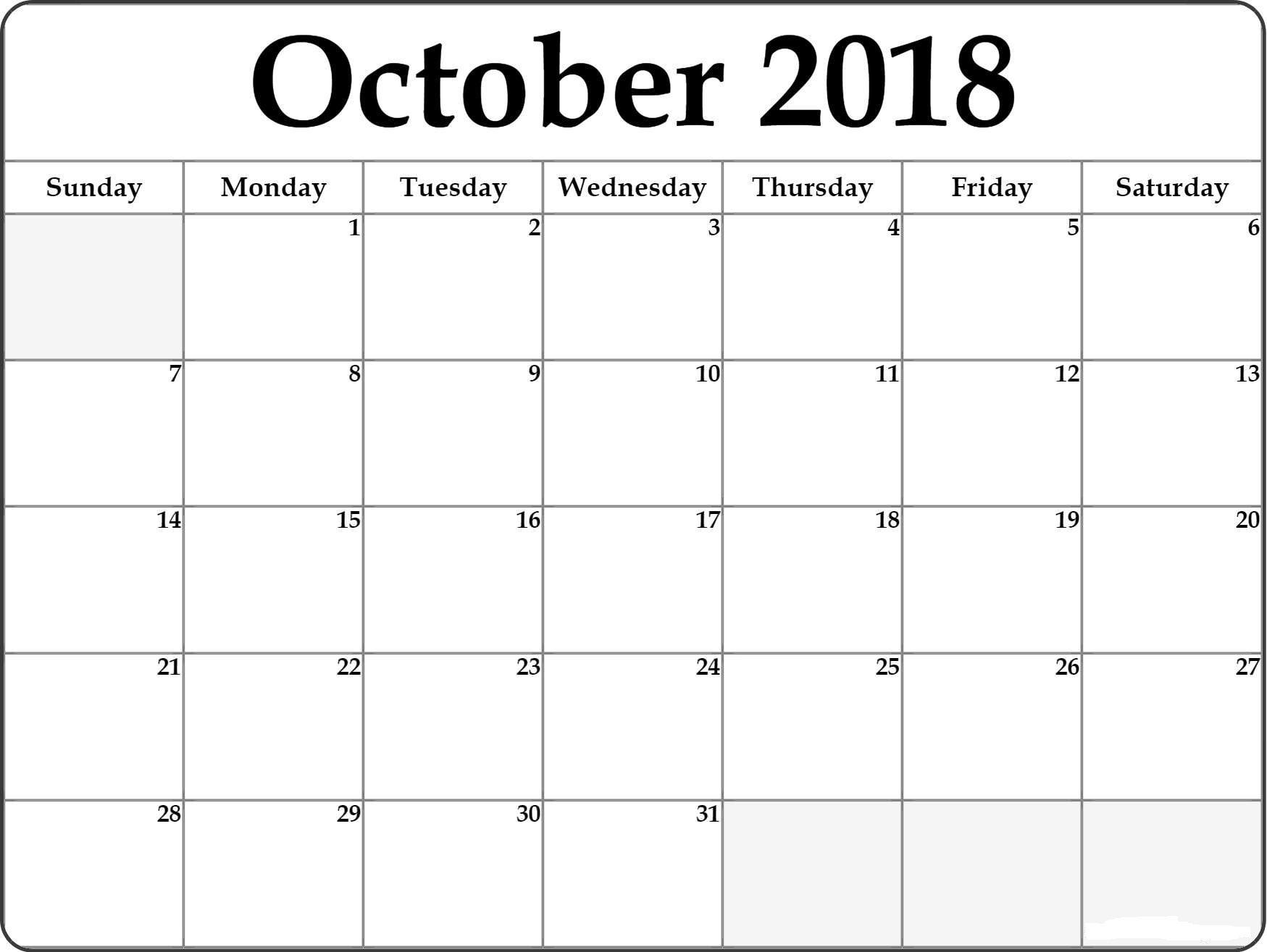 October 2018 Calendar Template Editable