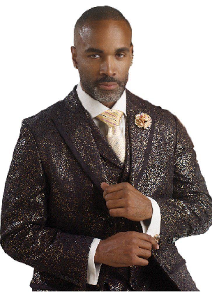 Black Gold Foil Mens Vested 3 Piece Suit M2669 Tuxedo tuxedos ...