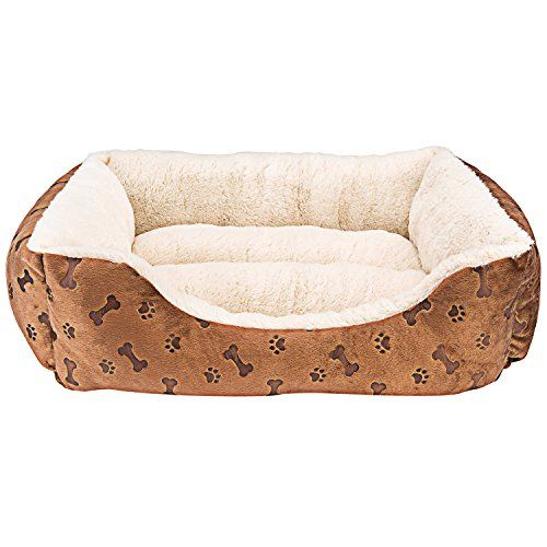 Rectangle Pet Bed With Dog Paw Printing 22 X 18 Brown Checkered Dog Bed With Anatomic Design With High An Cool Dog Beds Elevated Dog Bed Dog Bed Furniture