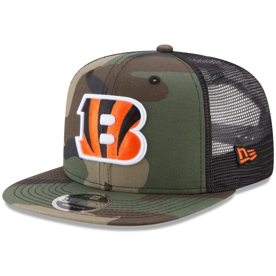Men s Cincinnati Bengals New Era Woodland Camo Black Trucker 9FIFTY  Snapback Adjustable Hat 1d3911a75