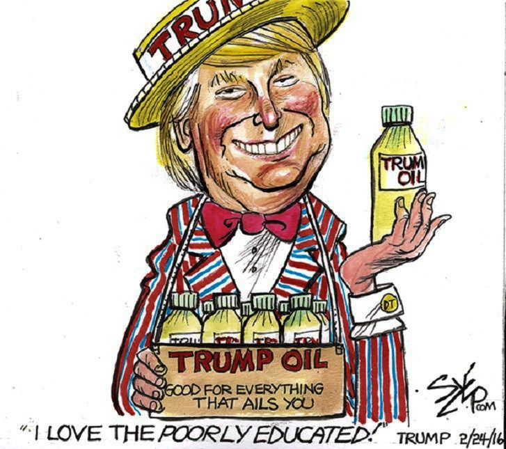 Image result for trump i love the poorly educated cartoons