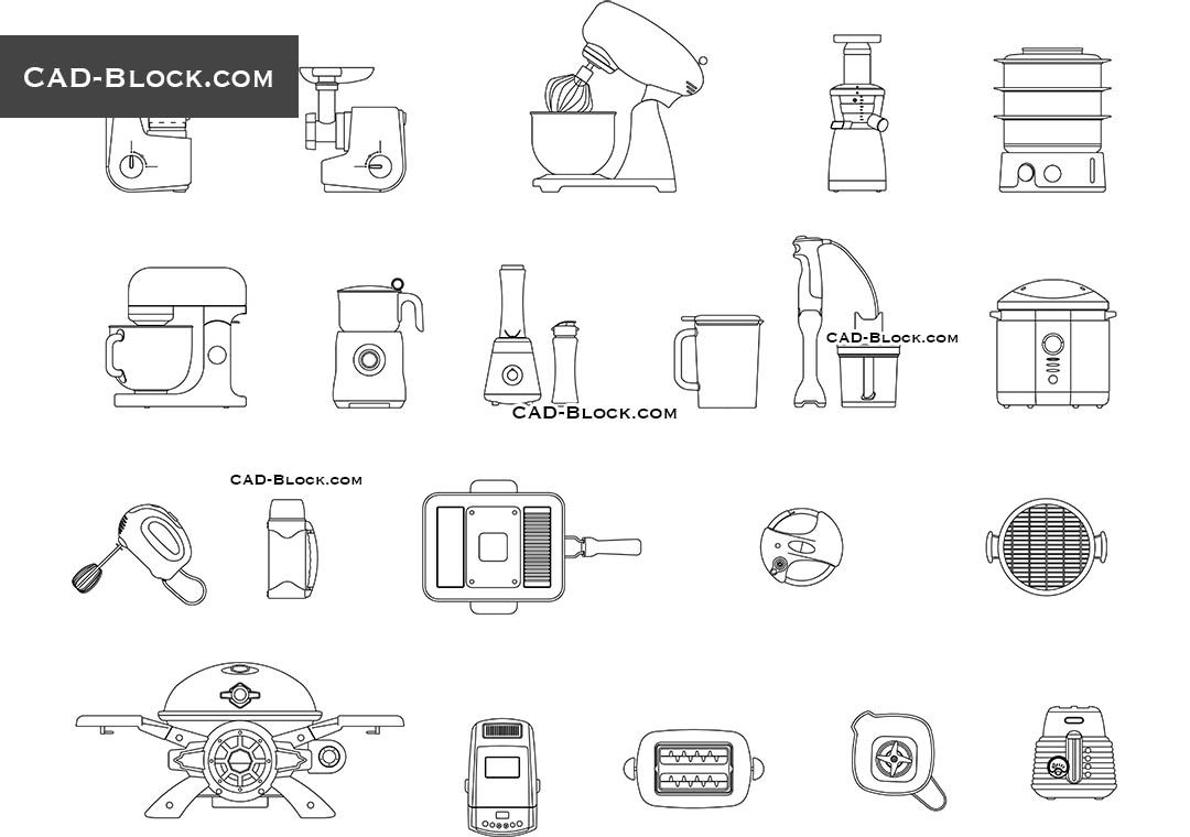 Kitchen Small Appliances Free Cad Drawings In 2019
