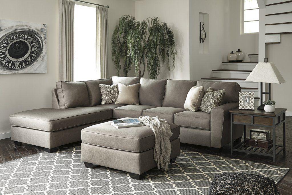 Calicho Contemporary Cashmere Color Fabric Sectional Sofa And