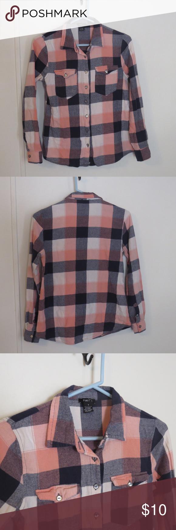 Orange flannel jacket  rue Small Pink u Gray Plaid Flannel Shirt Button  Plaid flannel
