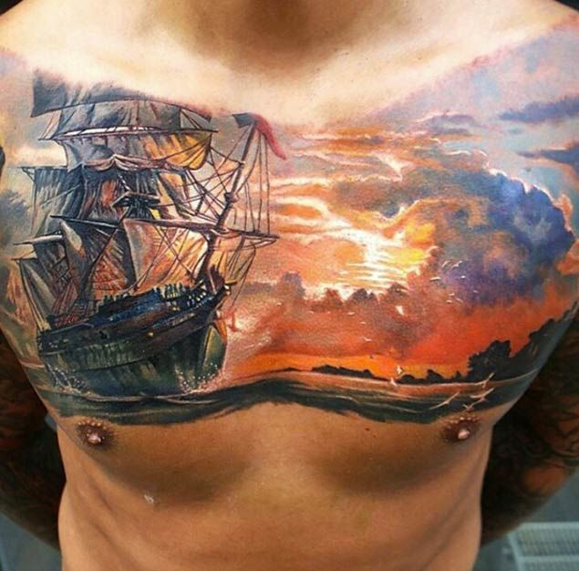 50 amazing ship tattoos you won 39 t believe are real tattoos on men pinterest sunset. Black Bedroom Furniture Sets. Home Design Ideas
