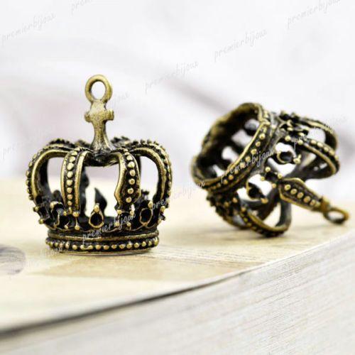 ca-5-Antik-Bronze-Krone-Anhaenger-Charms-Perlen-Beads-23x21mm-TS7419