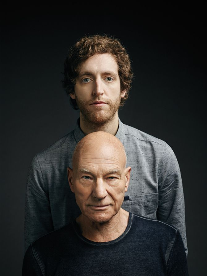 Thomas Middleditch And Patrick Stewart On Doing Standup Nicknames And Crazy Fan Encounters Portrait Background Studio Portraits Silicon Valley Hbo