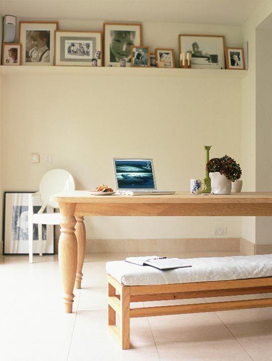 Floating shelf about 2-3 ft from the ceiling. We love the airy look