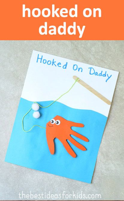 Hooked On Daddy Fish Handprint Card Hand Print Crafts