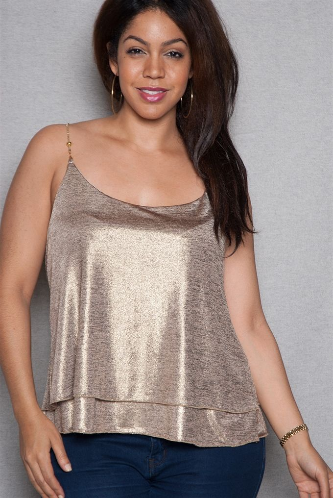 89541f57847 Time to shimmer and shine in this plus-size gold cami top Racerback chain  shoulder straps and double layers of shimmery foil fabric with tiered hem  create a ...