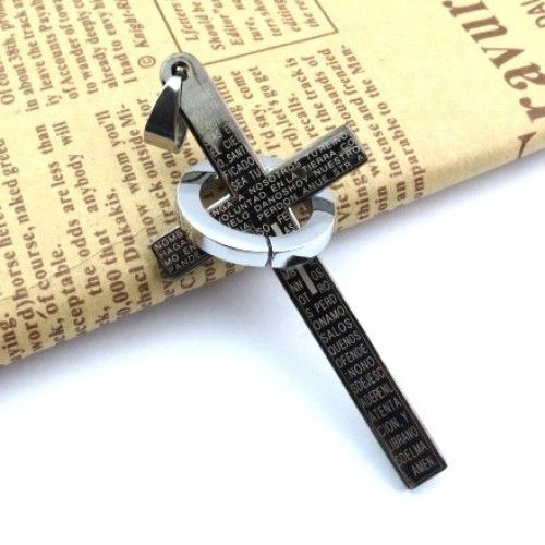 Jewelry BLACK CROSS PENDANT MENS pendant Scripture titanium steel