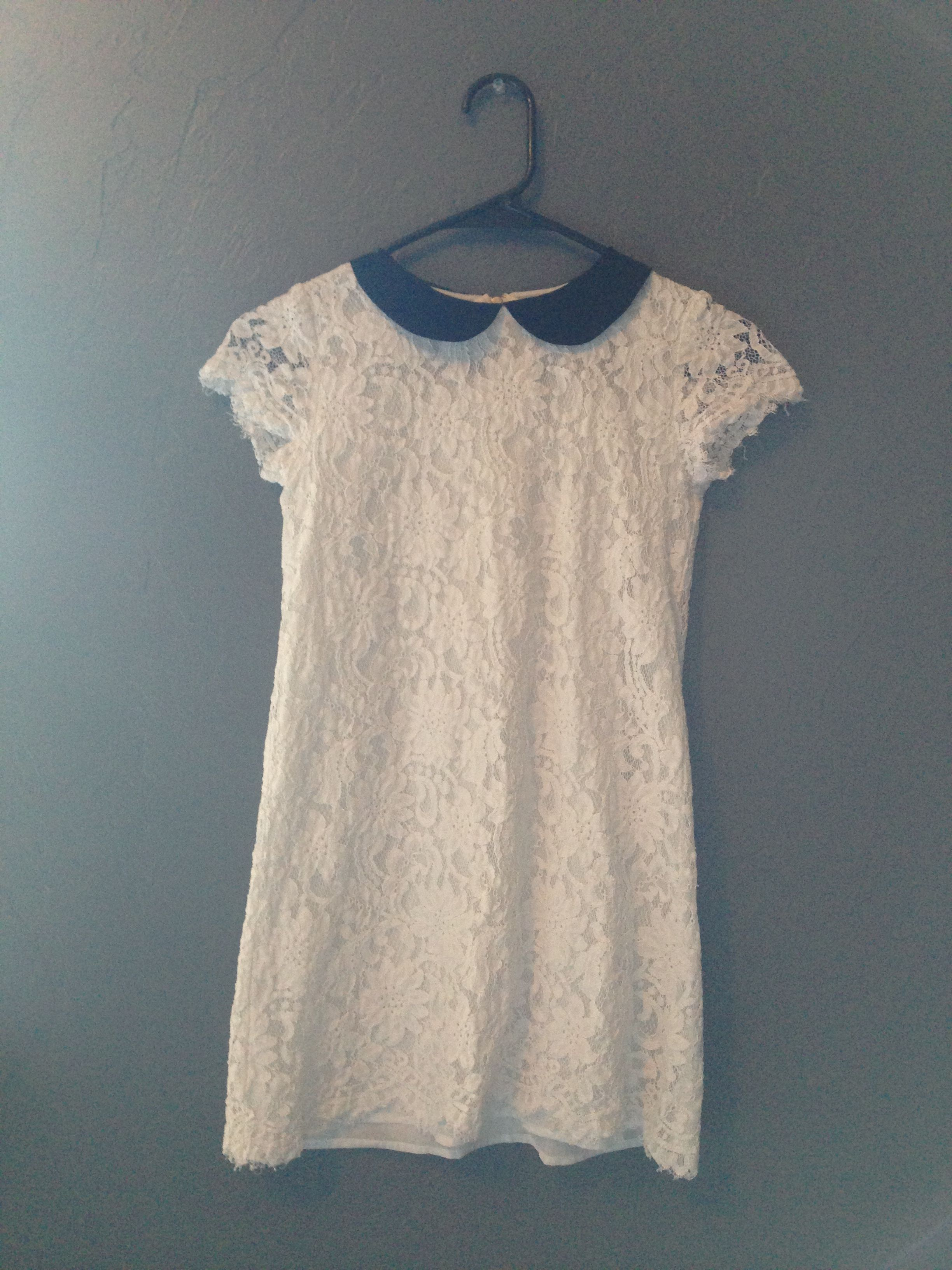 Thursday White Lace Dress with Black Collar from Forever 21
